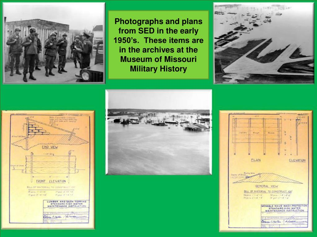 Photographs and plans from SED in the early 1950's.  These items are in the archives at the Museum of Missouri Military History
