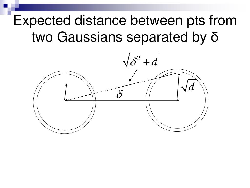 Expected distance between pts from two Gaussians separated by