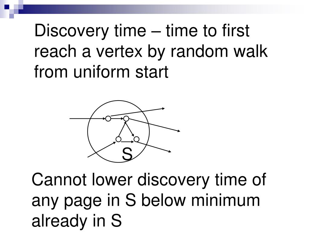 Discovery time – time to first reach a vertex by random walk from uniform start