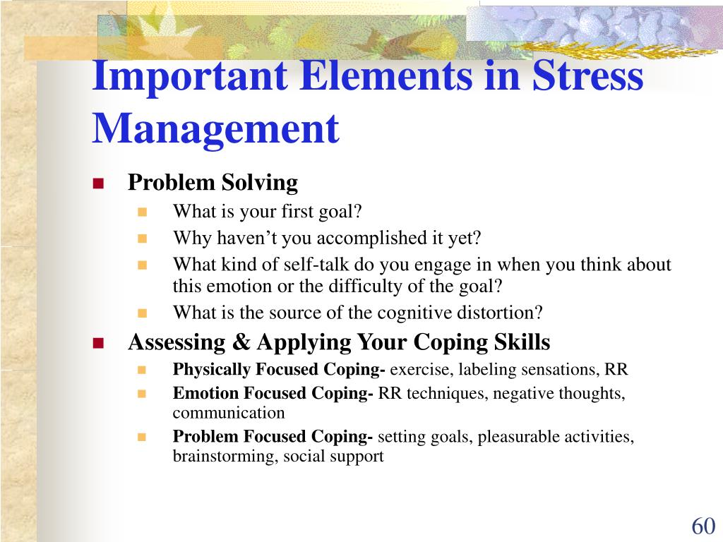 Important Elements in Stress Management