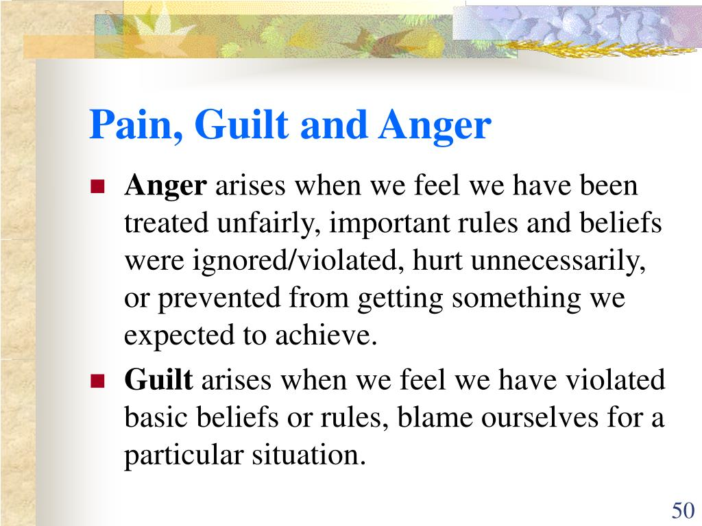 Pain, Guilt and Anger