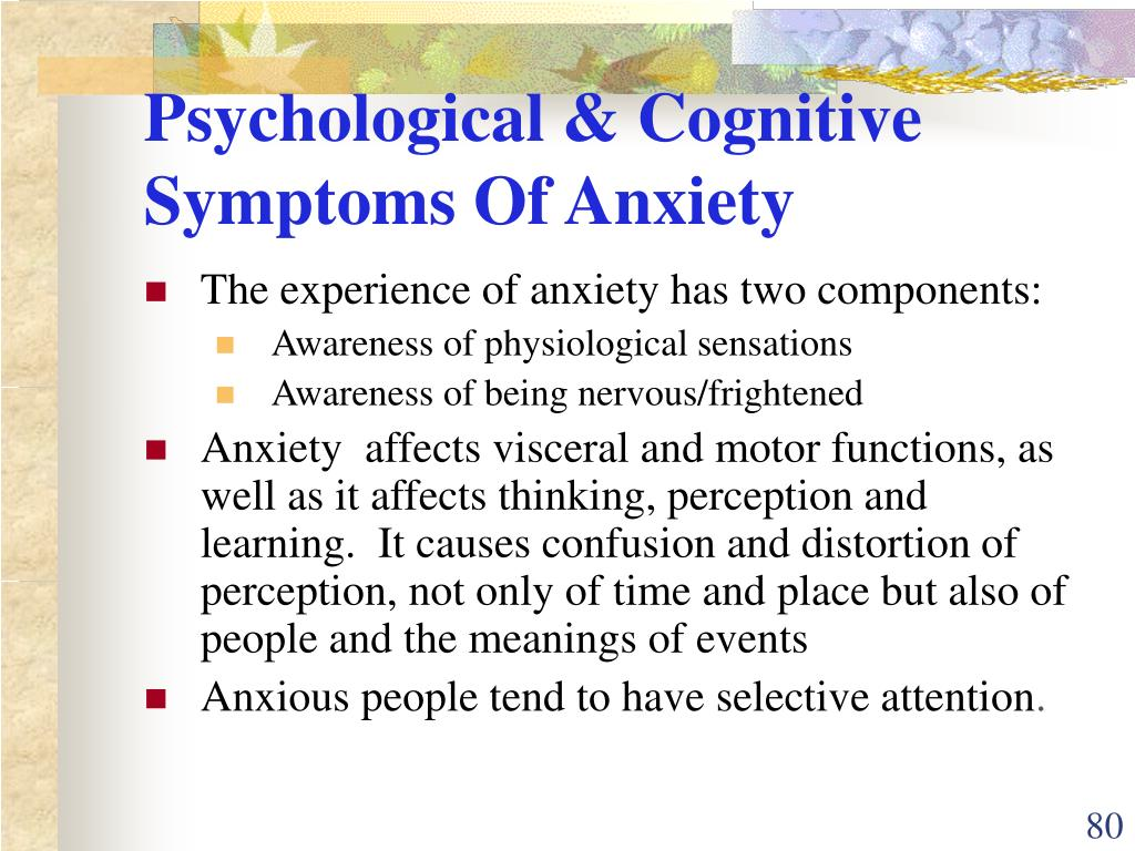 Psychological & Cognitive Symptoms Of Anxiety