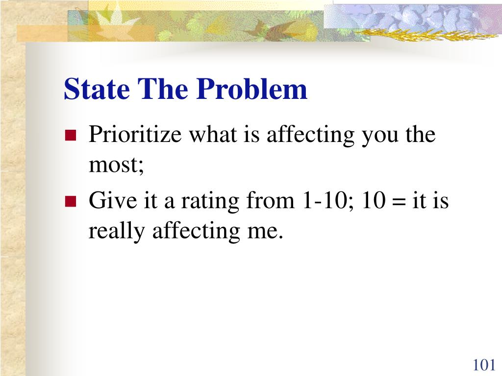 State The Problem