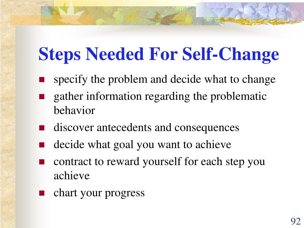 Steps Needed For Self-Change