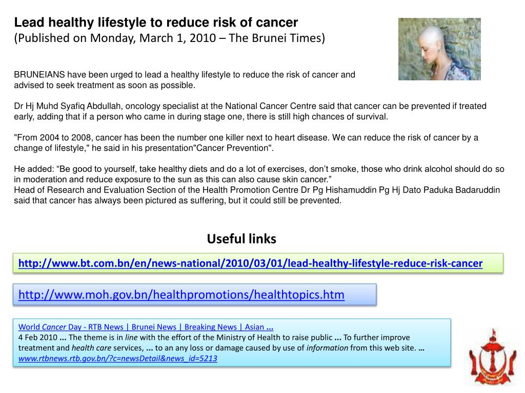 Lead healthy lifestyle to reduce risk of cancer