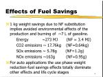 effects of fuel savings