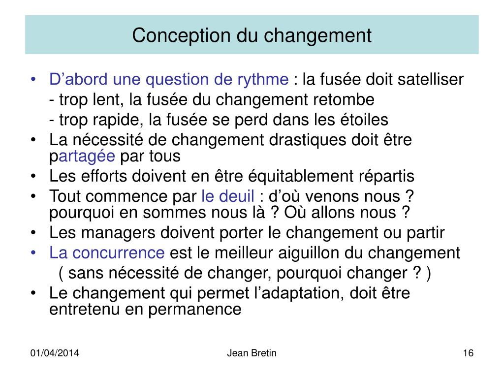 Conception du changement