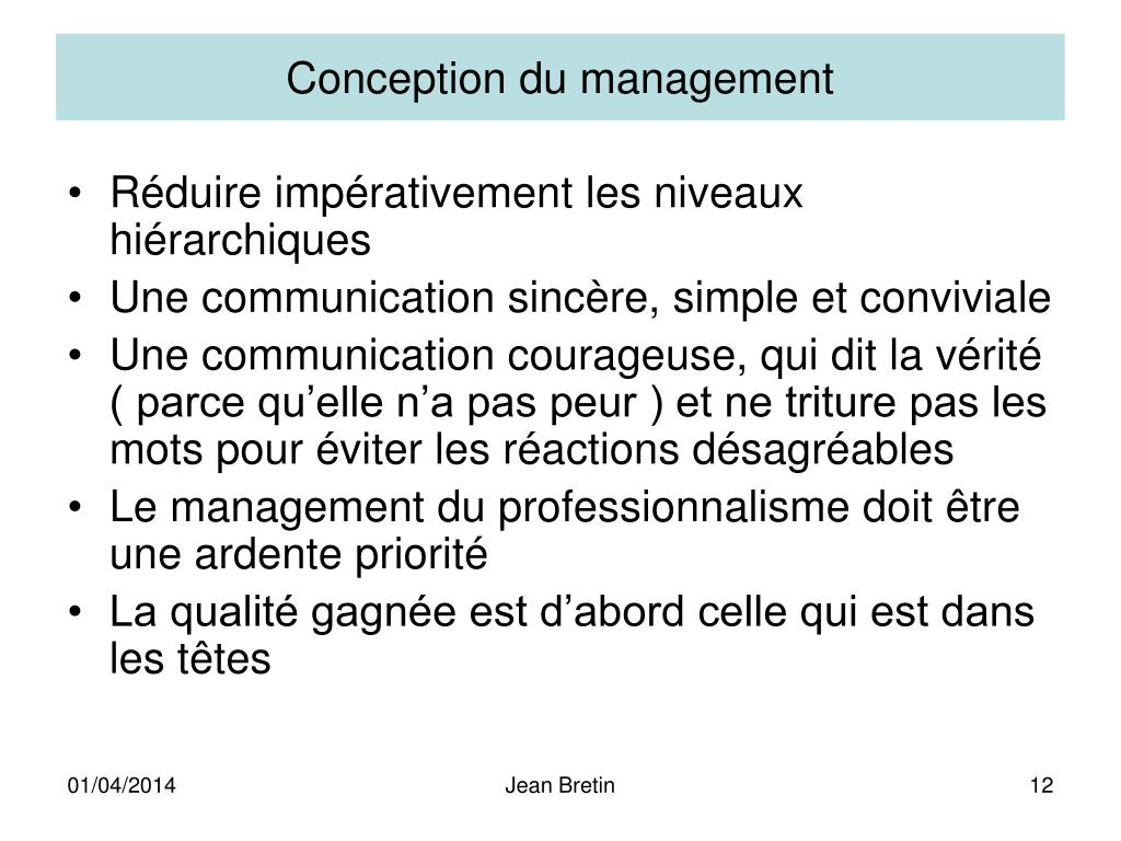 Conception du management
