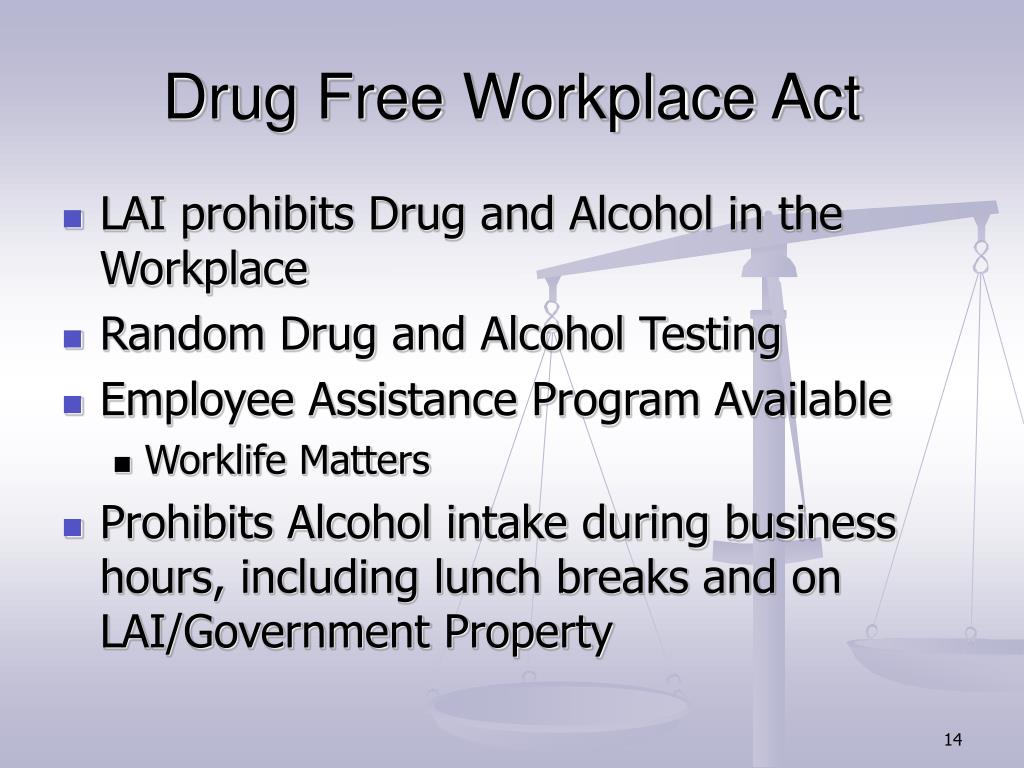 Drug Free Workplace Act