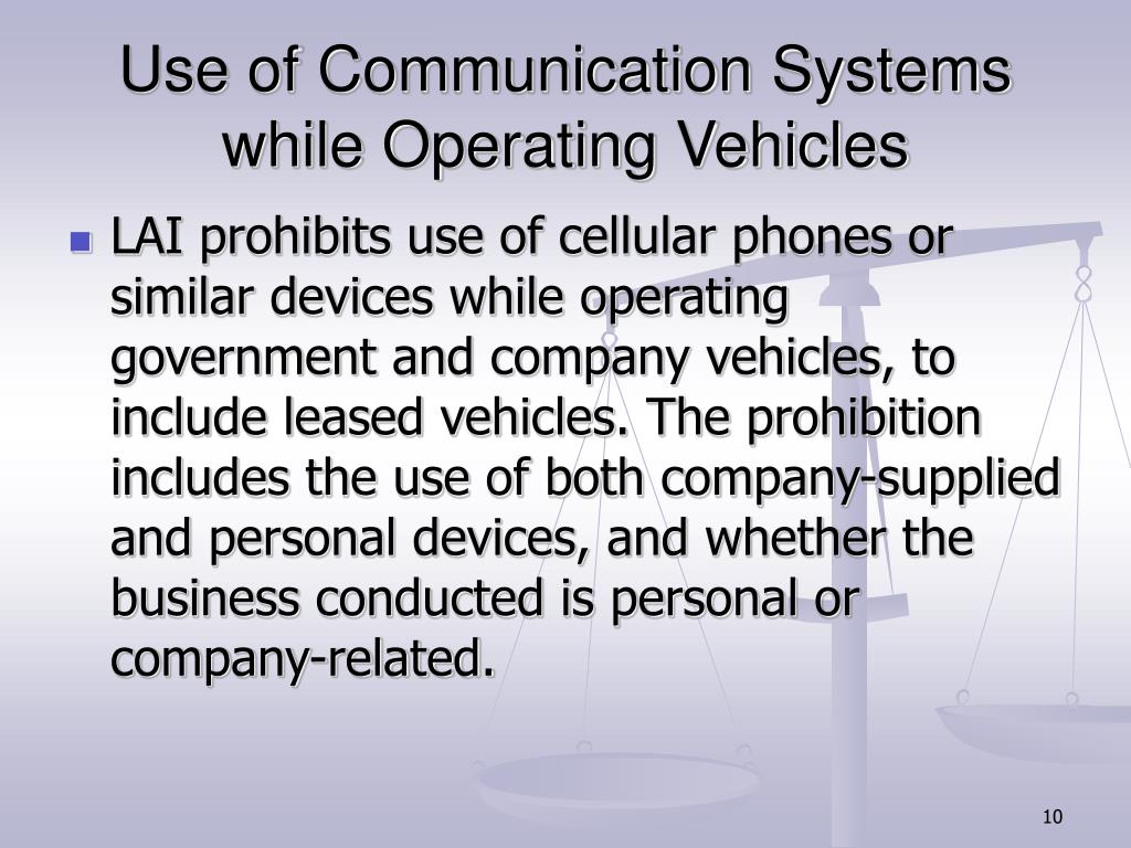Use of Communication Systems while Operating Vehicles