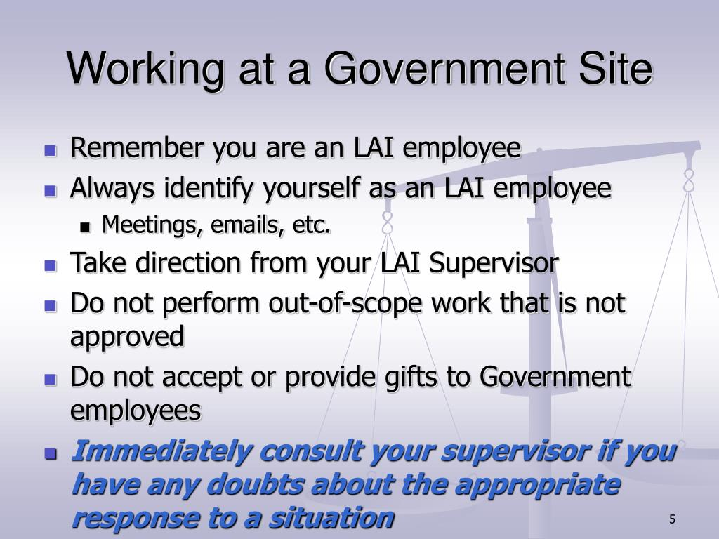 Working at a Government Site
