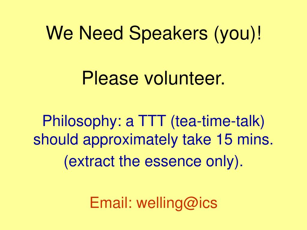 We Need Speakers (you)!