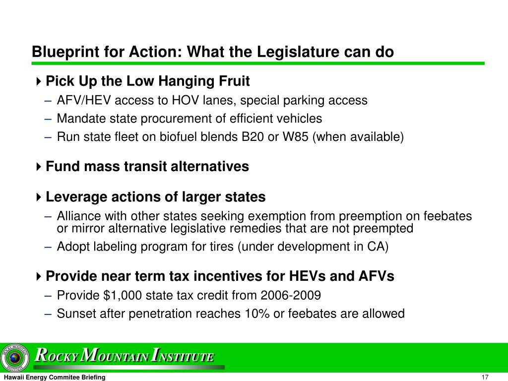 Blueprint for Action: What the Legislature can do