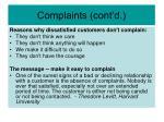 complaints cont d