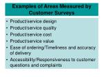 examples of areas measured by customer surveys