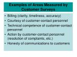 examples of areas measured by customer surveys27