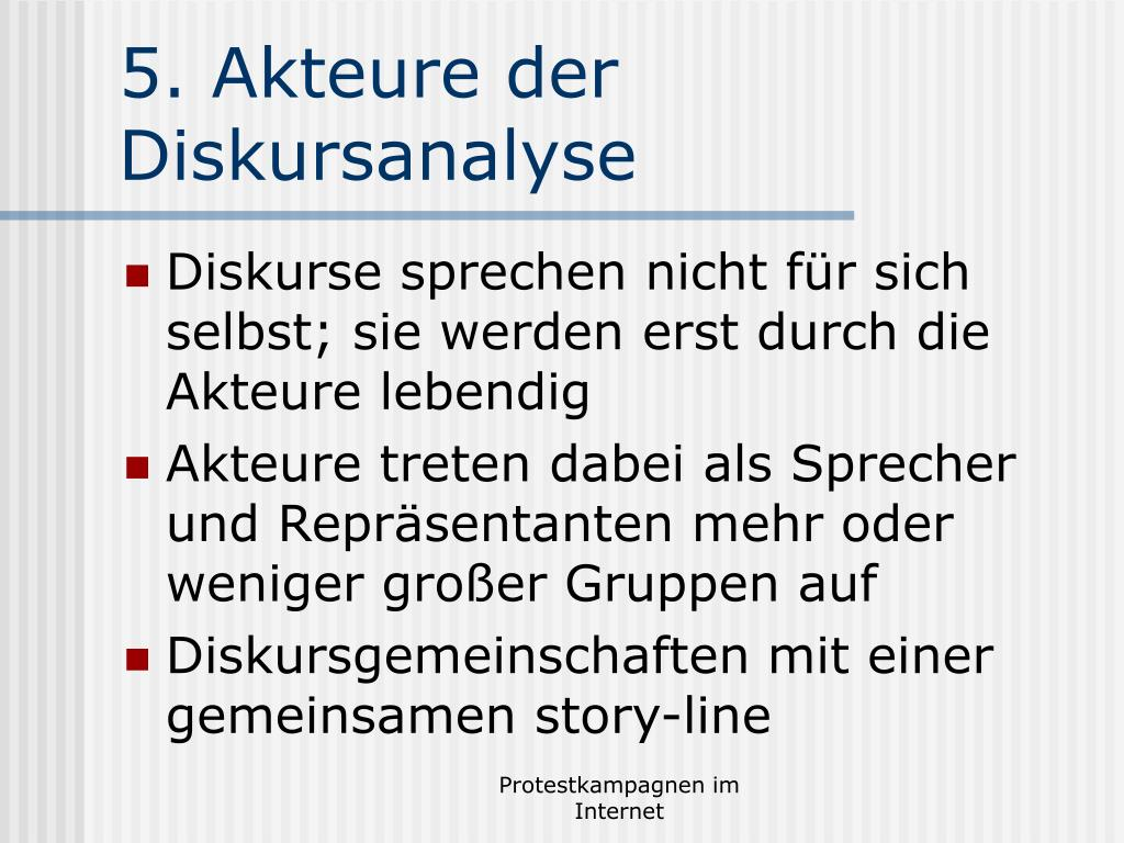 5. Akteure der Diskursanalyse