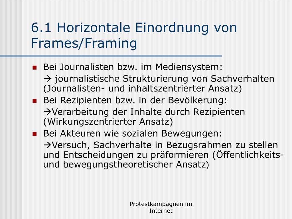 6.1 Horizontale Einordnung von Frames/Framing