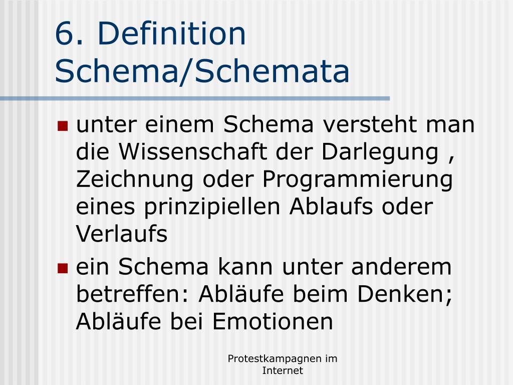 6. Definition Schema/Schemata