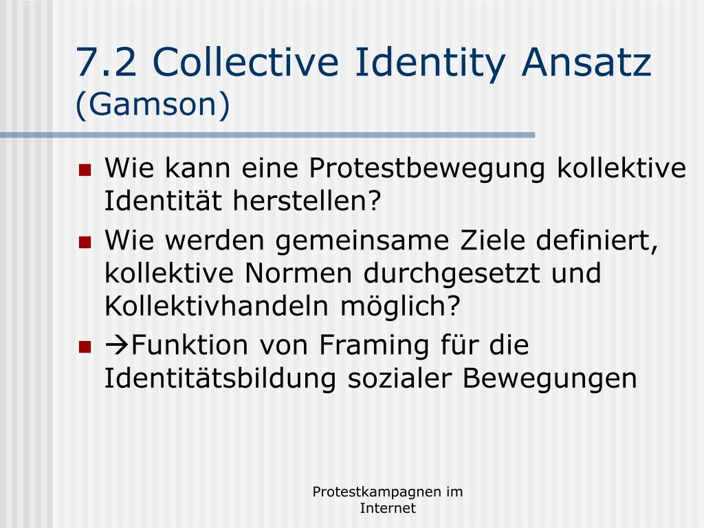 7.2 Collective Identity Ansatz