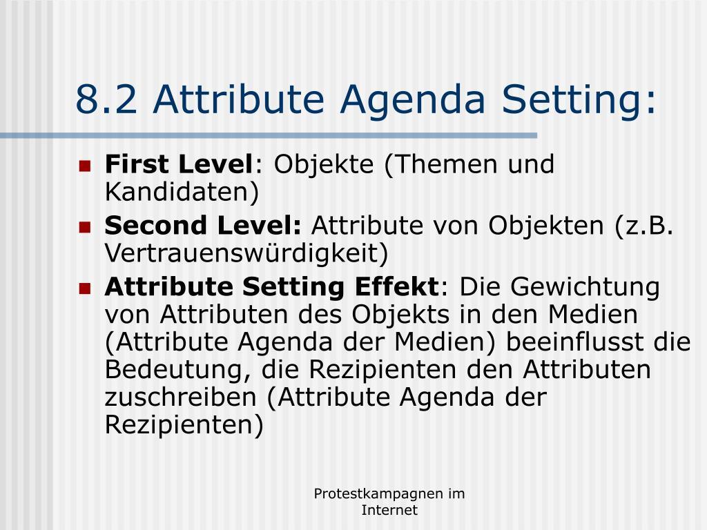 8.2 Attribute Agenda Setting: