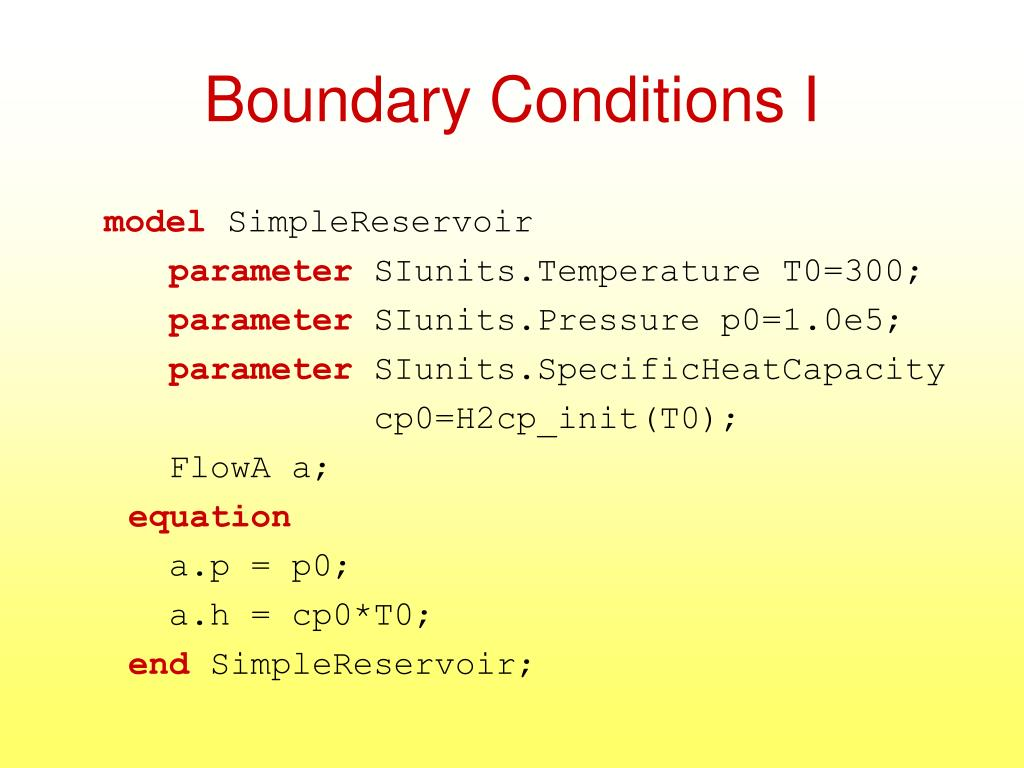Boundary Conditions I
