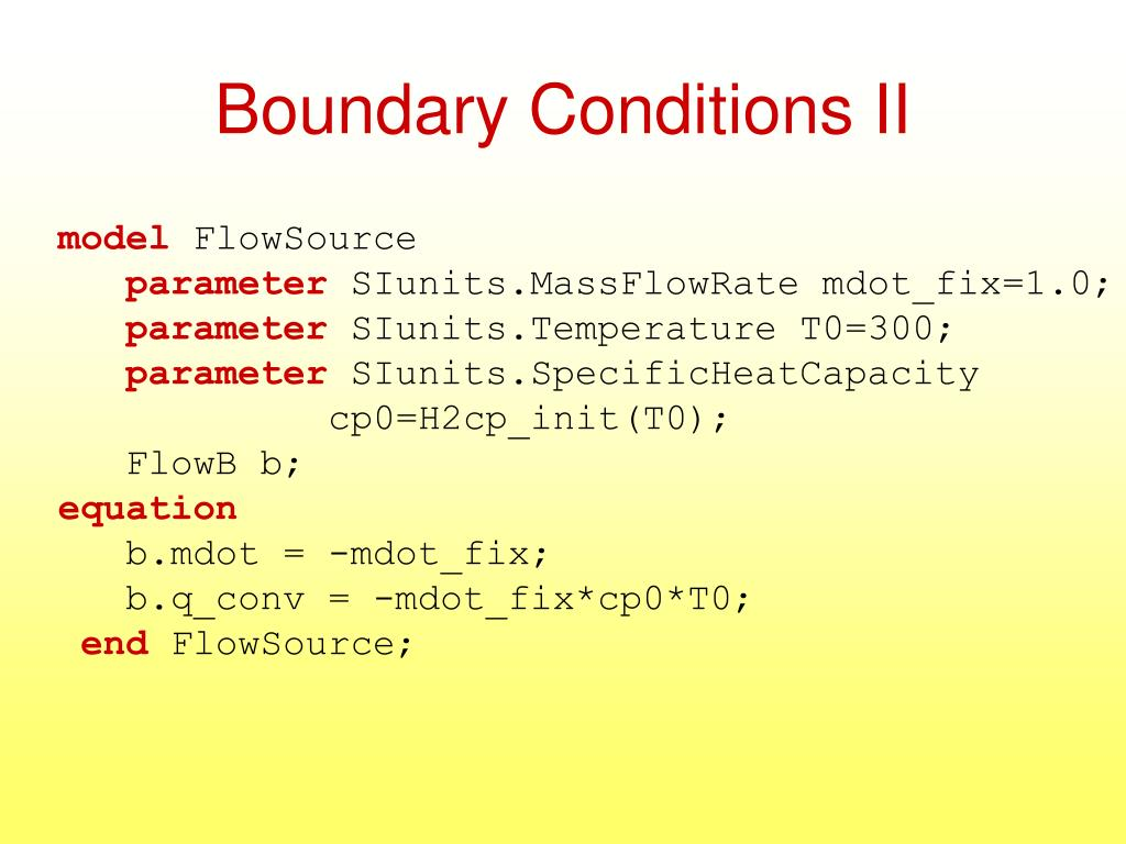 Boundary Conditions II