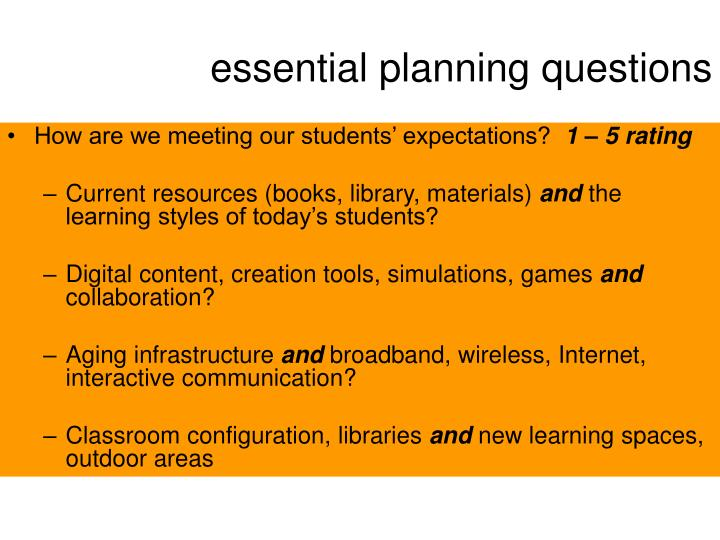 essential planning questions