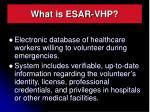 what is esar vhp