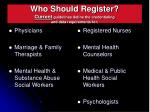 who should register current guidelines define the credentialing and data requirements for
