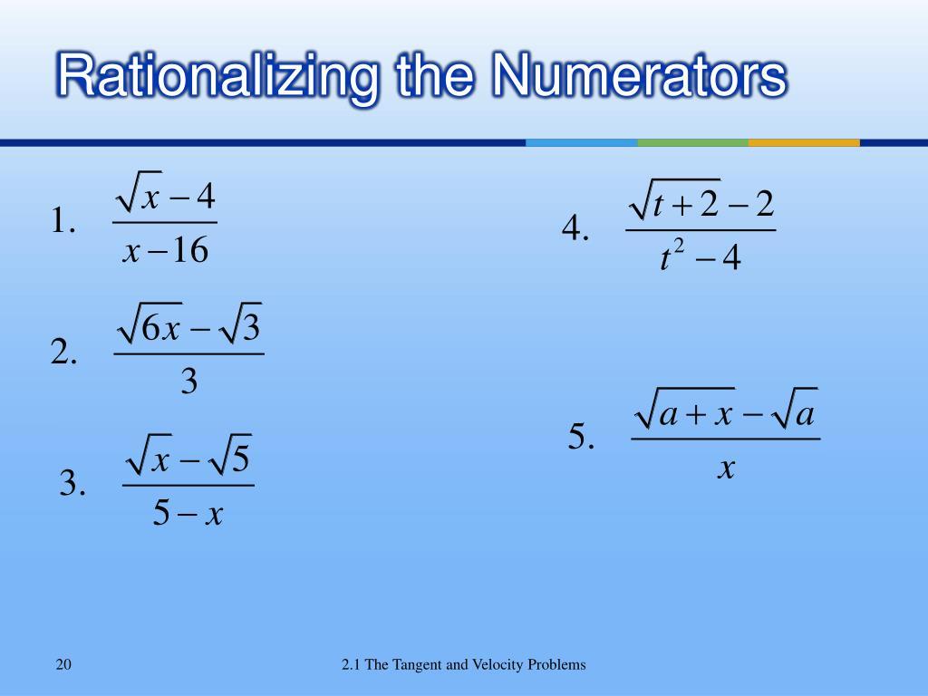Rationalizing the Numerators