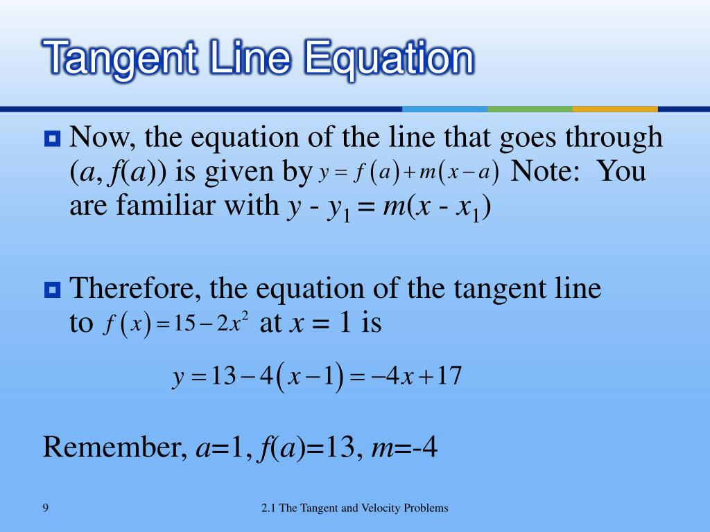 Tangent Line Equation