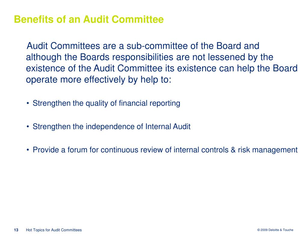 Benefits of an Audit Committee