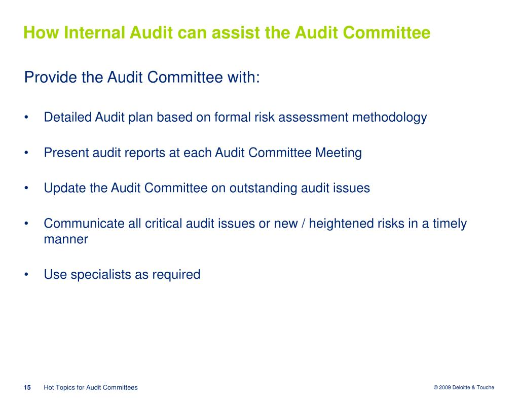 How Internal Audit can assist the Audit Committee
