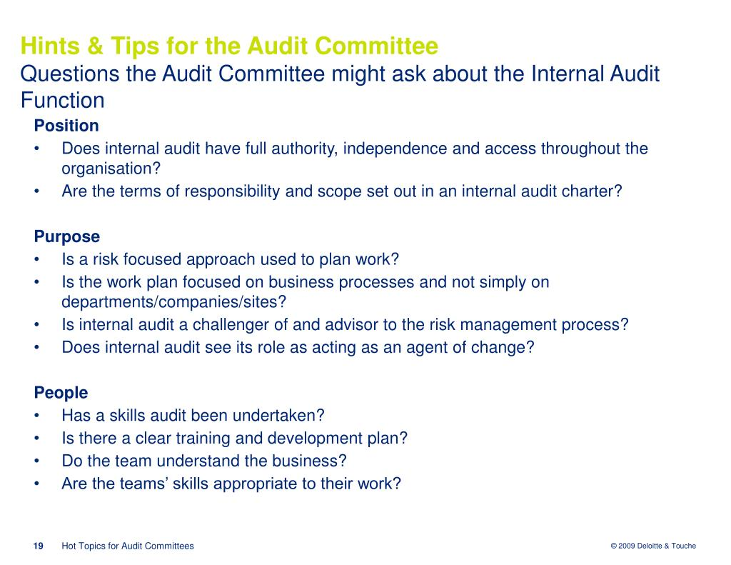Hints & Tips for the Audit Committee