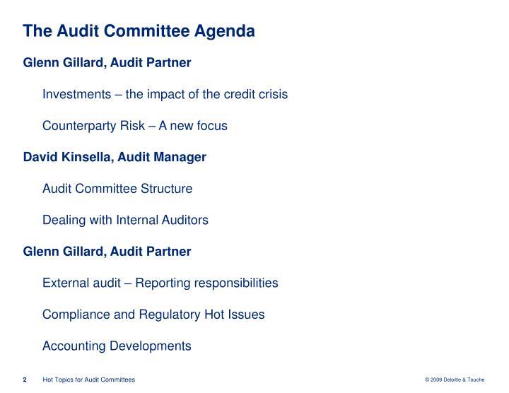The audit committee agenda