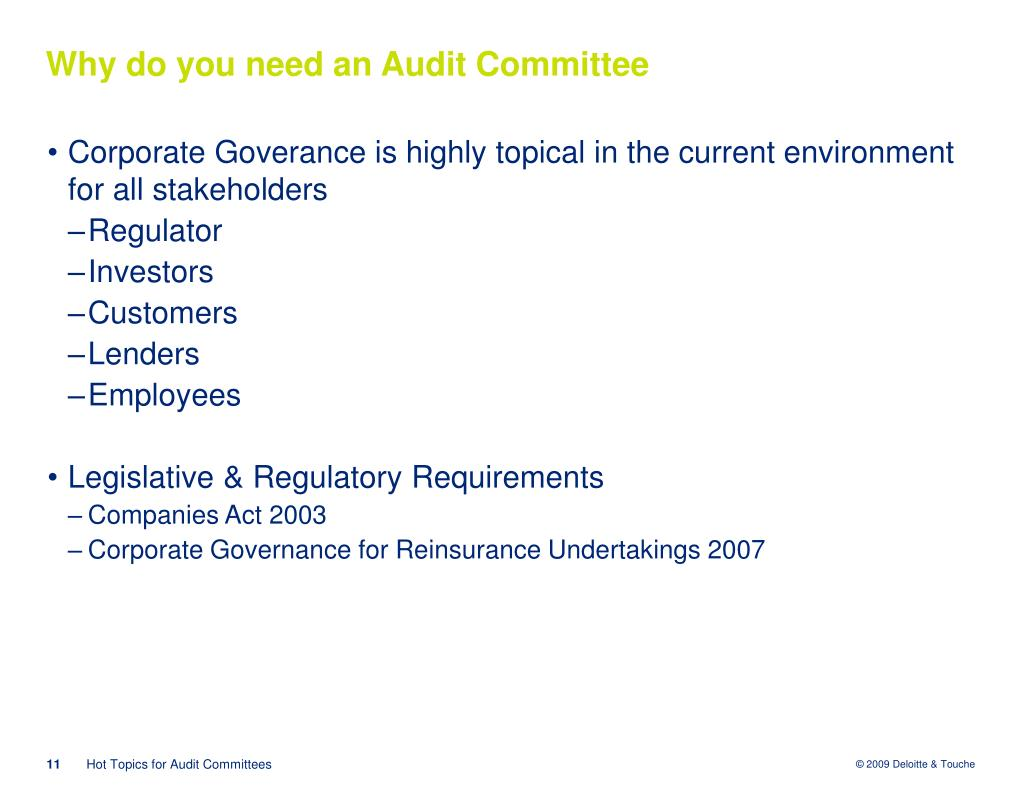 Why do you need an Audit Committee
