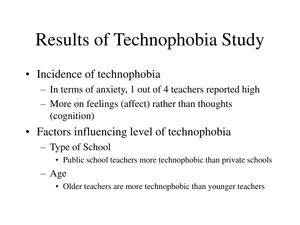 Results of Technophobia Study