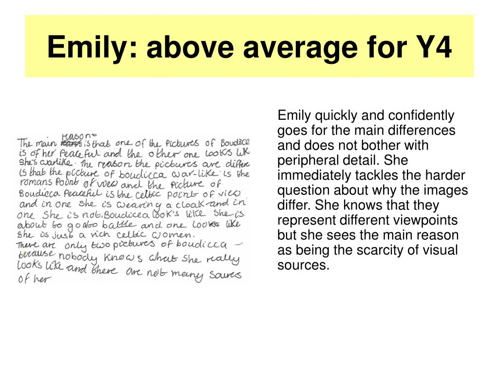 Emily: above average for Y4