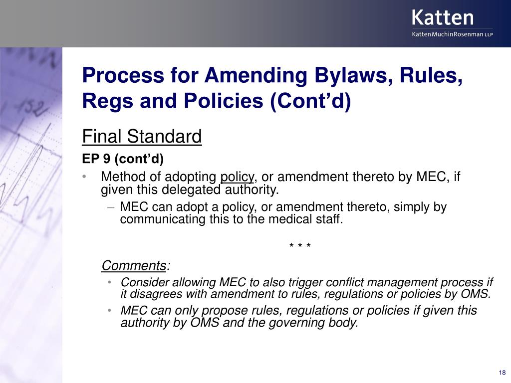 Process for Amending Bylaws, Rules, Regs and Policies (Cont'd)
