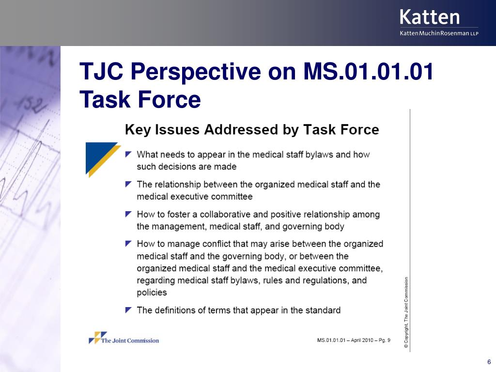 TJC Perspective on MS.01.01.01 Task Force