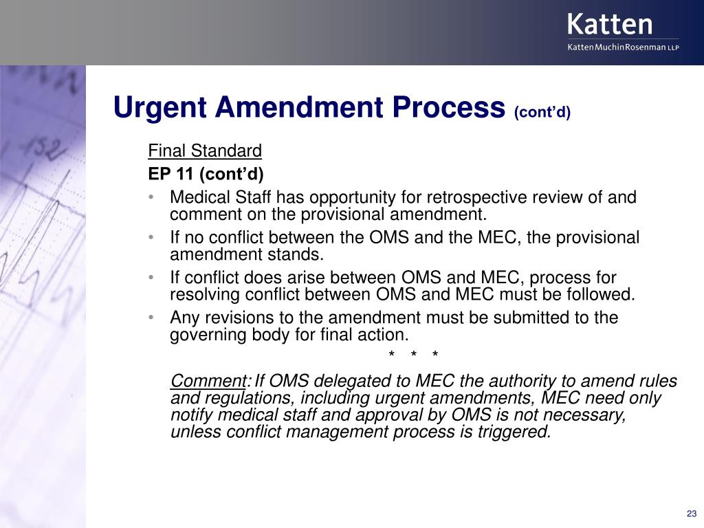 Urgent Amendment Process