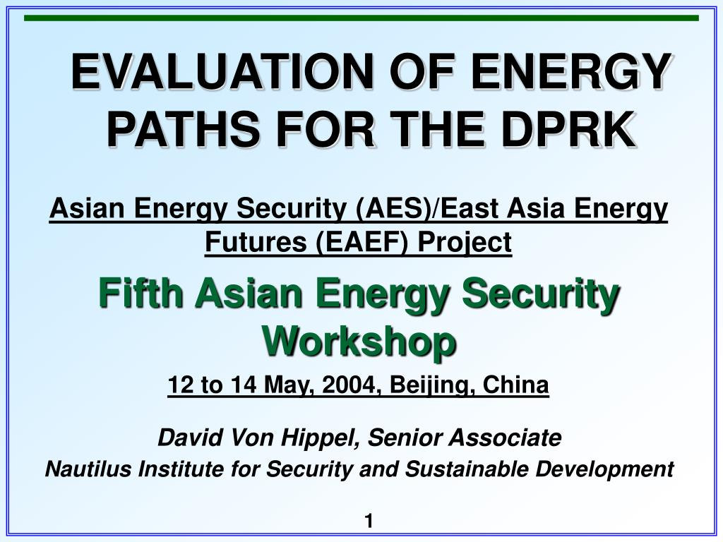 evaluation of energy paths for the dprk l.
