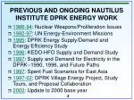 previous and ongoing nautilus institute dprk energy work