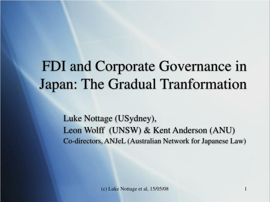 fdi and corporate governance in japan the gradual tranformation l.