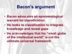 bacon s argument