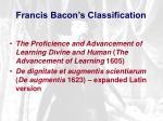 francis bacon s classification