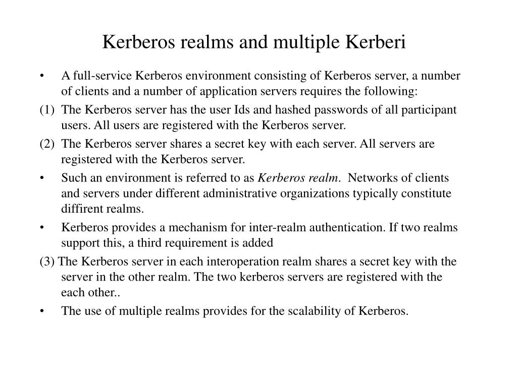 Kerberos realms and multiple Kerberi