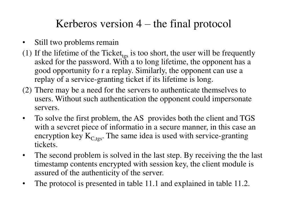 Kerberos version 4 – the final protocol