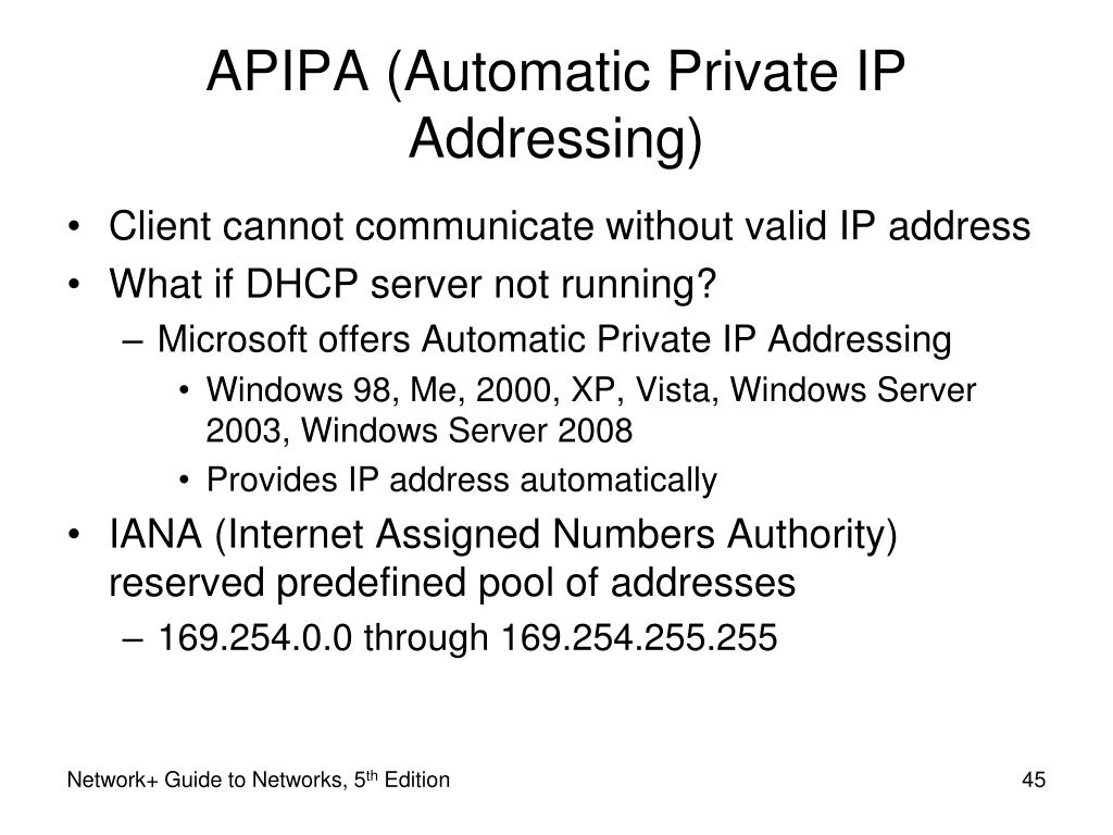 APIPA (Automatic Private IP Addressing)